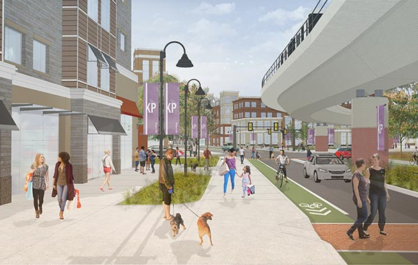 Rendering of a busy street with pedestrians and the rail line.