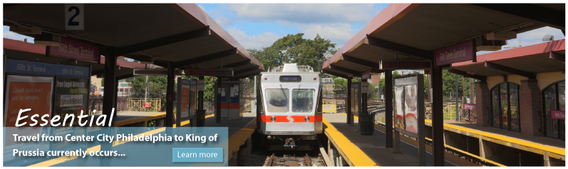 Convenient - The King of Prussia Rail Project will evaluate various alternative alignments to make the connection between the Norristown Transportation Center and destinations in King of Prussia.